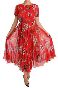 DOLCE & GABBANA Dress Red Silk Fish A-Line Shift Gown IT40  US6  S RRP $2800