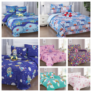 1 Comforter 1 Flat 1 Fitted Sheet 1 Case 1 Sham 1 decorative Pillow TWIN KIDS