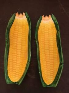 Vintage Rare Porcelain Corn on The Cob Dishes PAIR 9 inches BEAUTIFUL