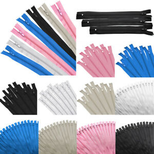 50Pcs 9quot; 12quot; 16quot; Inch Nylon Coil Zippers Closed End Bulk for Tailor Sewing Craft