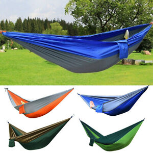 2 Person Two Outdoor Camping Nylon Hammock Parachute Hanging Bed Sleeping Swing