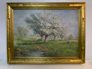 Antique Verner Moore White Signed Oil on Canvas Landscape Painting Blossom Trees