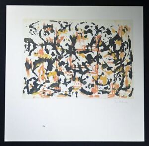 Jackson Pollock Hand Signed Lithograph black smudges with orange and yellow $799.00