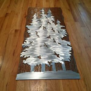Large Metal Wall Art Evergreen Trees Pine Forest CO Handmade Rustic Home Decor