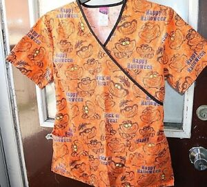Halloween Scrub Shirt Womens size S Disney Cheshire Cat Trick or Treat  -D+
