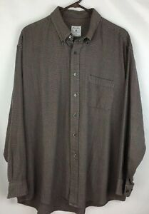 Brooks Brothers Mens Sport Shirt Brown Blue All Cotton Size XL