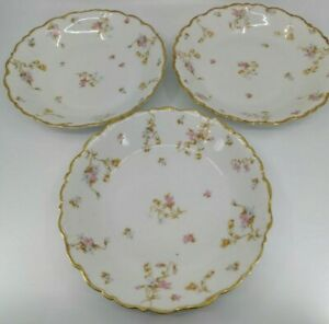 Bawo and Dotter Limoges Elite Works BWD29 Set 3 Round Soup Dinner Bowls 8.25