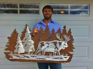 Moose Trees Metal Wall Art Rustic Hunting Cabin Home Decor Wildlife Lover Gift