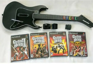 Ps2 Kramer Black Guitar Dongle Strap And 4 Guitar Hero Games Tested Playstation