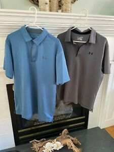 Mens Under armour lot heatgear 2 shirts white grey golf polo Sz XL loose fit