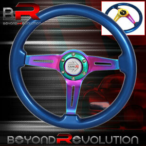 Universal Deep Dish Blue Neo Chrome Center Steering Wheel Frame Type-R Button