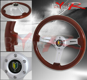 350mm Light Wood Chrome Center 6-Bolt Hole Steering Wheel Jdm Wakaba Mark Button