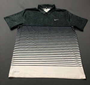 Nike Tiger Woods Collection Dri-Fit Golf Shirt Polo (L Gray Striped)(YR)