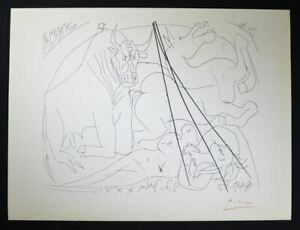 """Pablo Picasso Signed Lithograph from """"Suite Vollard"""" (bull horse and woman). $599.00"""