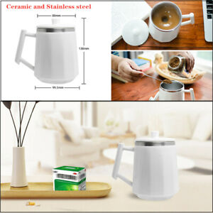 Self Stirring Coffee Cup Ceramic amp; Stainless Mixer Drinking Cup Hotel Home White $39.19