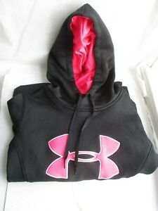 GirlsJUNIORS UNDER ARMOUR Pink and Black Hooded Sweatshirt - Size XSmall