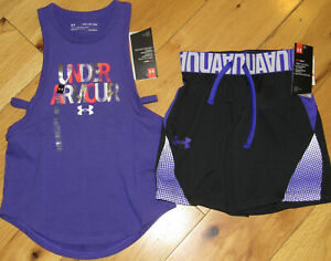 Under Armour foil logo tank top & black purple shorts NWT girls' XS YXS