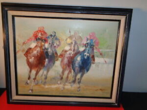 Vintage J. Taylor Signed oil on Canvas Painting of a Horse Race ( 16 by 20