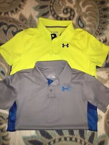 Lot Of (2) Boys Under Armour Polo Golf Dri Fit Shirts Size YXL Youth Xlarge