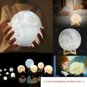 3D Printing Moon Lamp Moonlight USB Changing LED Night Lunar Light Touch 3 Color