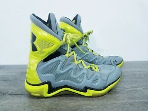 UNDER ARMOUR CHARGE BB Mens High Top Gray & Yellow Basketball Shoes - Size 10