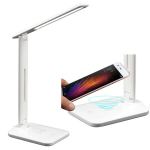 LED Desk Lamp w/ Qi Wireless Charger Dimmable Foldable Touch Control Office Home