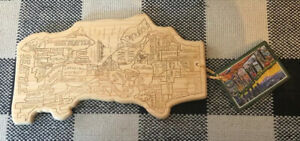 """Totally Bamboo"" Cutting, Serving Board Map of Seattle Wash. 100% Bamboo w/ Tag"