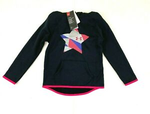 Girl's UNDER ARMOUR Black Pink Pullover Hoodie Jacket Size Youth S Small NWT $40