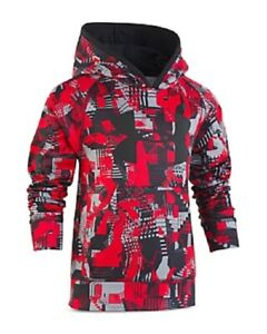 Under Armour Boys' Abstract Print Big Logo Fleece Hoodie Little Kid Size 4 $28.00