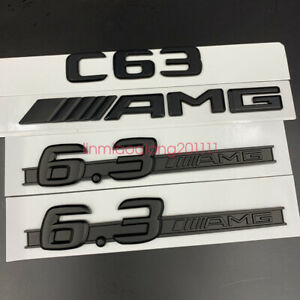 Glossy Black C63 6.3 AMG Letters Trunk Embl Badge Sticker for Mercedes Benz