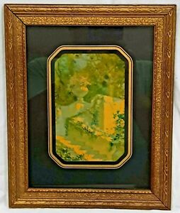 ANTIQUE GARDEN FLORAL FLOWERS URN TREES STONE LITHOGRAPH GOLD WOOD FRAMED PRINT