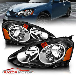 2002 2004 Acura RSX DC5 JDM Black Replacement Headlights Head Lamps Pair $143.25