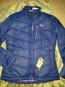 WOMENS UNDER ARMOUR FITTED INSULATED JACKET COAT SIZE SMALL 1321441 BLUE HOT PIN $62.99