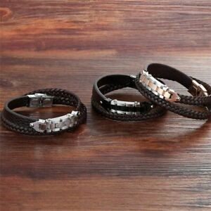 Bicycle Chain with Toggle clasp Stainless Steel Genuine Leather Bracelet For Men