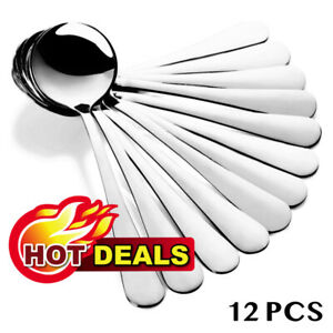 Hiware Soup Spoons Round Stainless Steel Bouillon Spoons High Quality 12-Pieces