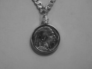 Coin Pendant VINTAGE BUFFALO NICKEL Stainless Steel Figaro Chain 22 Necklace $11.95