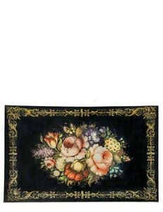 Victorian Trading Co Still Life Of Flowers Tole Painted Roses Kitchen Mat Rug