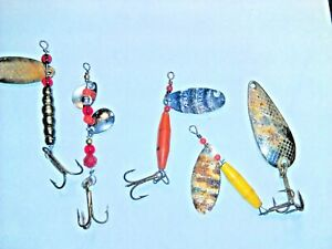VINTAGE LURES WE HAVE A MIXED LOT OF VINTAGE SPINNERS SOME COPPERGREAT LURES.