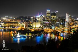 Pittsburgh PA City Skyline, Night Pictures, Urban Photography Home Decor Metal