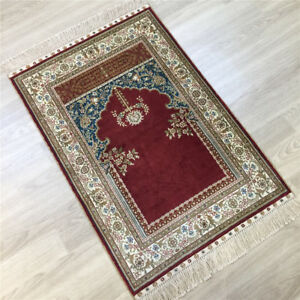 Yilong 2'x3' Red Hand knotted Carpet Prayer Hand Woven Area Silk Area Rug 137A