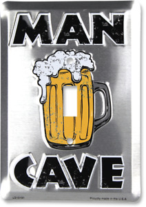Man Cave Single Light Switch Metal Plate Cove