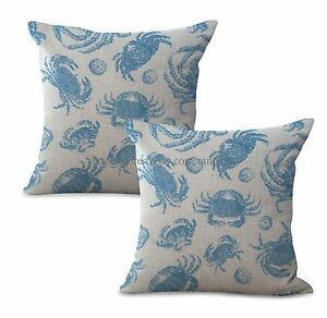 decorative pillows and Set of 2 sailing sea life crab cushion cover