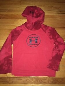 Boys Under Armour Red Camo Logo Hoodie Sweatshirt Youth Small YSM $17.99