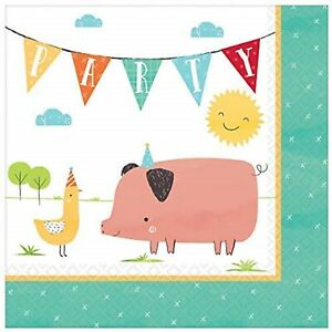 Barnyard Animals Farm Pig Cow Horse Rooster Birthday Party Luncheon Napkins
