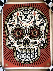 Shepard Fairey (POWER & GLORY DAY OF THE DEAD SKULL) Red Print Signed & Numbered