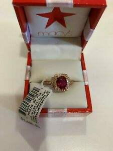 Diamond amp; Lead Glass Filled Ruby 14K Gold Ring Size 7