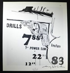 """Andy Warhol Hand Signed Print """"Drills"""" with COA.  Unique Warhol Artwork."""