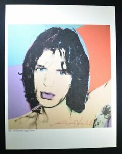 """Andy Warhol Hand Signed Print """"Mick Jagger"""" great colorful portrait with COA."""