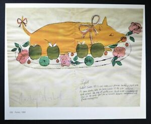 """Andy Warhol Nice Hand Signed Print """"Ferkel"""" with COA.  A Piglet on a Platter."""