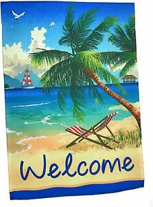 Palm Tree Welcome Garden Flag 12quot; x 18quot; Double Sided Lantern Hill $8.95